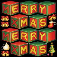 メリークリスマス1 看板・ボード用イラストシール (W285×H285mm)