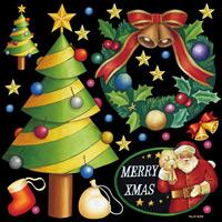 クリスマスツリー 看板・ボード用イラストシール (W285×H285mm)