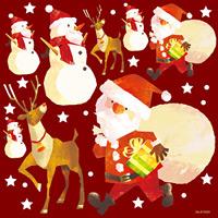 クリスマスサンタ 看板・ボード用イラストシール (W285×H285mm)