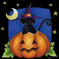 ハロウィン 黒猫 看板・ボード用イラストシール (W285×H285mm)