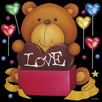 バレンタイン LOVEベア 看板・ボード用イラストシール (W285×H285mm)