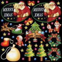 メリークリスマス アソート 看板・ボード用イラストシール (W285×H285mm)