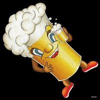 デコシール ビール (キャラクター) サイズ:ビッグ W600×H600 (61911)