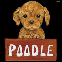 デコシール 犬 プードル  サイズ:ビッグ W600×H600 (61917)