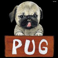 デコシール 犬 パグ サイズ:ビッグ W600×H600 (61922)