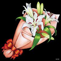 デコシール 花束 ユリ サイズ:ビッグ W600×H600 (61926)