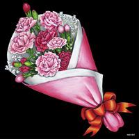 デコシール 花束 カーネーション サイズ:ビッグ W600×H600 (61927)