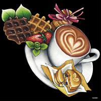 デコシール コーヒー ラテアート サイズ:ビッグ W600×H600 (62081)