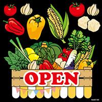 野菜 OPEN 看板・ボード用イラストシール (W285×H285mm)