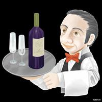 人物 ウェイタ ワイン 看板・ボード用イラストシール (W285×H285mm)