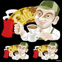 人物 シェフ Cafe 看板・ボード用イラストシール (W285×H285mm)