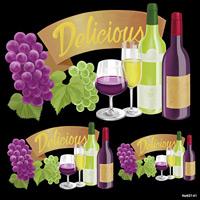 ワイン Delicious 看板・ボード用イラストシール (W285×H285mm)