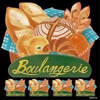 パン boulangerie 看板・ボード用イラストシール (W285×H285mm)