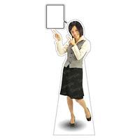 等身大パネル 女性制服(ベスト着用)-B モデル鹿野さくら ポーズ:左指差し (62360)