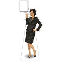 等身大パネル 女性スーツ-B モデル鹿野さくら ポーズ:左指差し腰手 (62373)