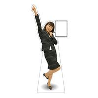 等身大パネル 女性スーツ-A モデル野原奈々 ポーズ:ガッツポーズ大 (62392)