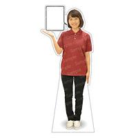 等身大パネル 女性ポロシャツ(ブラックパンツ)-A モデル野原奈々 シャツカラー:エンジ (62469)