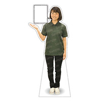 等身大パネル 女性ポロシャツ(ブラックパンツ)-A モデル野原奈々 シャツカラー:グリーン (62470)