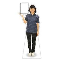 等身大パネル 女性ポロシャツ(ブラックパンツ)-A モデル野原奈々 シャツカラー:ネイビー (62471)