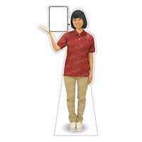 等身大パネル 女性ポロシャツ(ベージュパンツ)-A モデル野原奈々 シャツカラー:エンジ (62472)
