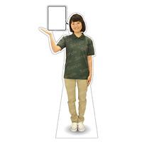 等身大パネル 女性ポロシャツ(ベージュパンツ)-A モデル野原奈々 シャツカラー:グリーン (62473)