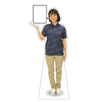 等身大パネル 女性ポロシャツ(ベージュパンツ)-A モデル野原奈々 シャツカラー:ネイビー (62474)
