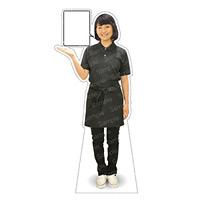 等身大パネル 女性ポロシャツ(エプロン)-A モデル野原奈々 シャツカラー:ネイビー (62477)