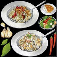 レストラン(3) 看板・ボード用イラストシール パスタ大2(W285×H285mm)