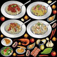 レストラン(1) 看板・ボード用イラストシール パスタ小(W285×H285mm)