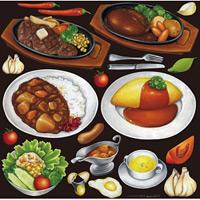 レストラン(2) 看板・ボード用イラストシール 洋食(W285×H285mm)
