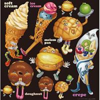 ソフトクリーム・ドーナッツ・シュークリームキャラクター 看板・ボード用イラストシール (W285×H285mm)