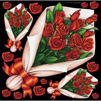 フラワー(2) 看板・ボード用イラストシール バラの花束 赤(W285×H285mm)