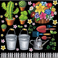フラワー(2) 看板・ボード用イラストシール 園芸用具と花(W285×H285mm)