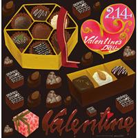 バレンタイン(2) 看板・ボード用イラストシール (W285×H285mm)