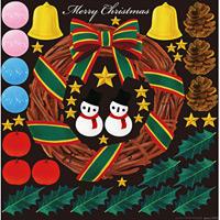 クリスマスリース デコレーション 看板・ボード用イラストシール (W285×H285mm)