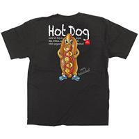黒Tシャツ ホットドッグ キャラクター サイズ:S (64160)