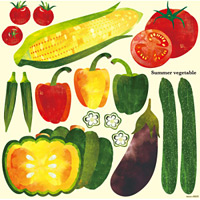 Summer Vegetable 看板・ボード用イラストシール (W285×H285mm)
