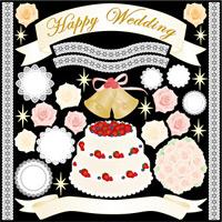 Happy Wedding 看板・ボード用イラストシール (W285×H285mm)