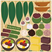 和菓子 涼 看板・ボード用イラストシール (W285×H285mm)