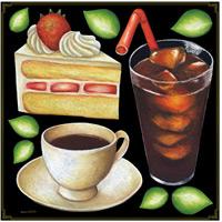 ショートケーキ・コーヒー ボード用イラストシール (68530)