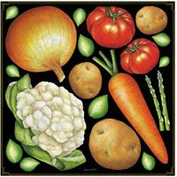 野菜アソート (人参、カリフラワー他) ボード用イラストシール (68538)