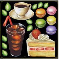 ケーキ・コーヒー・マカロン ボード用イラストシール (68543)