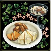 チーズ盛り合わせ・ナッツ ボード用イラストシール (68552)