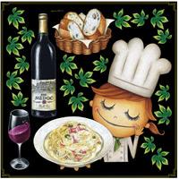パスタ&コック ボード用イラストシール ワインとパスタ(68573)