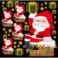 クリスマス サンタ(2) えんとつ 看板・ボード用イラストシール (W285×H285mm)