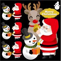 クリスマス サンタ(3) トナカイ 看板・ボード用イラストシール (W285×H285mm)