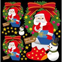 クリスマス サンタ(4) リース 看板・ボード用イラストシール (W285×H285mm)