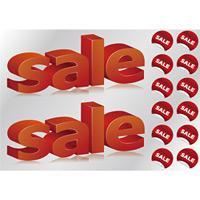 ウィンドウシール 片面印刷 sale 立体3D文字デザイン (6874)