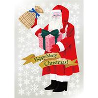 ウィンドウシール 両面印刷 クリスマス サンタクロース Happy Christmas! (6880)