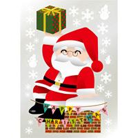 ウィンドウシール 両面印刷 クリスマス 煙突に腰掛けるサンタクロース (6881)
